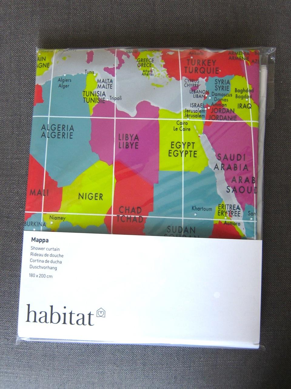 World Map Shower Curtain Mette Bassett
