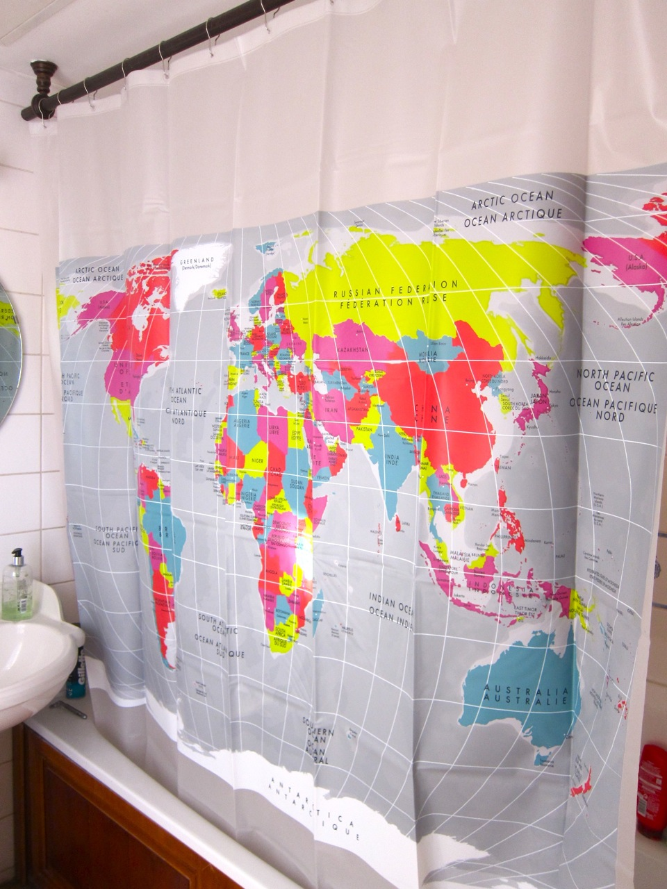 World map shower curtain mette bassett the gumiabroncs Choice Image